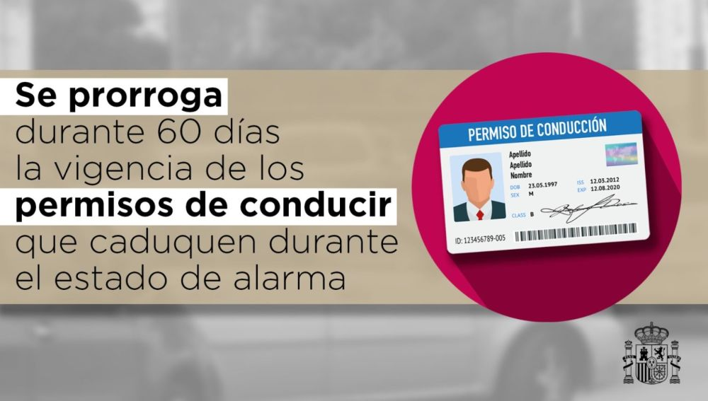 Se prorroga durante 60 días la vigencia de los permisos de conducir que caduquen durante el estado de alarma
