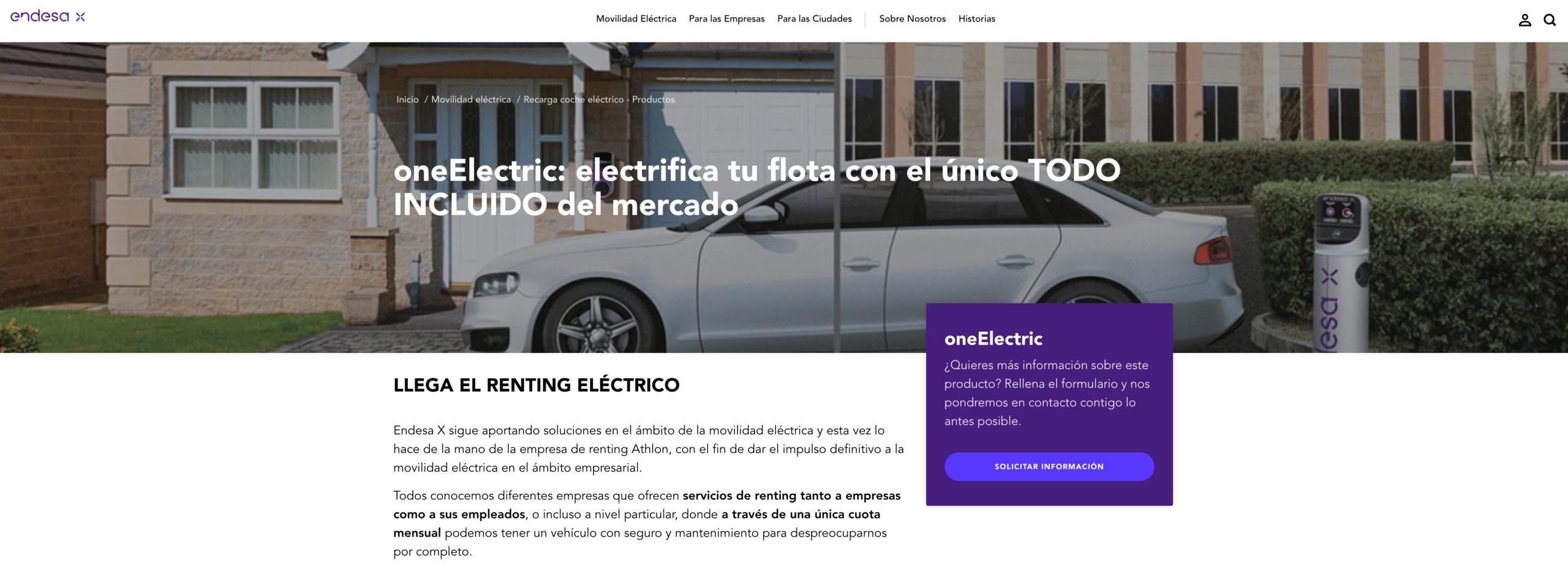 OneElectric, único renting eléctrico del mercado
