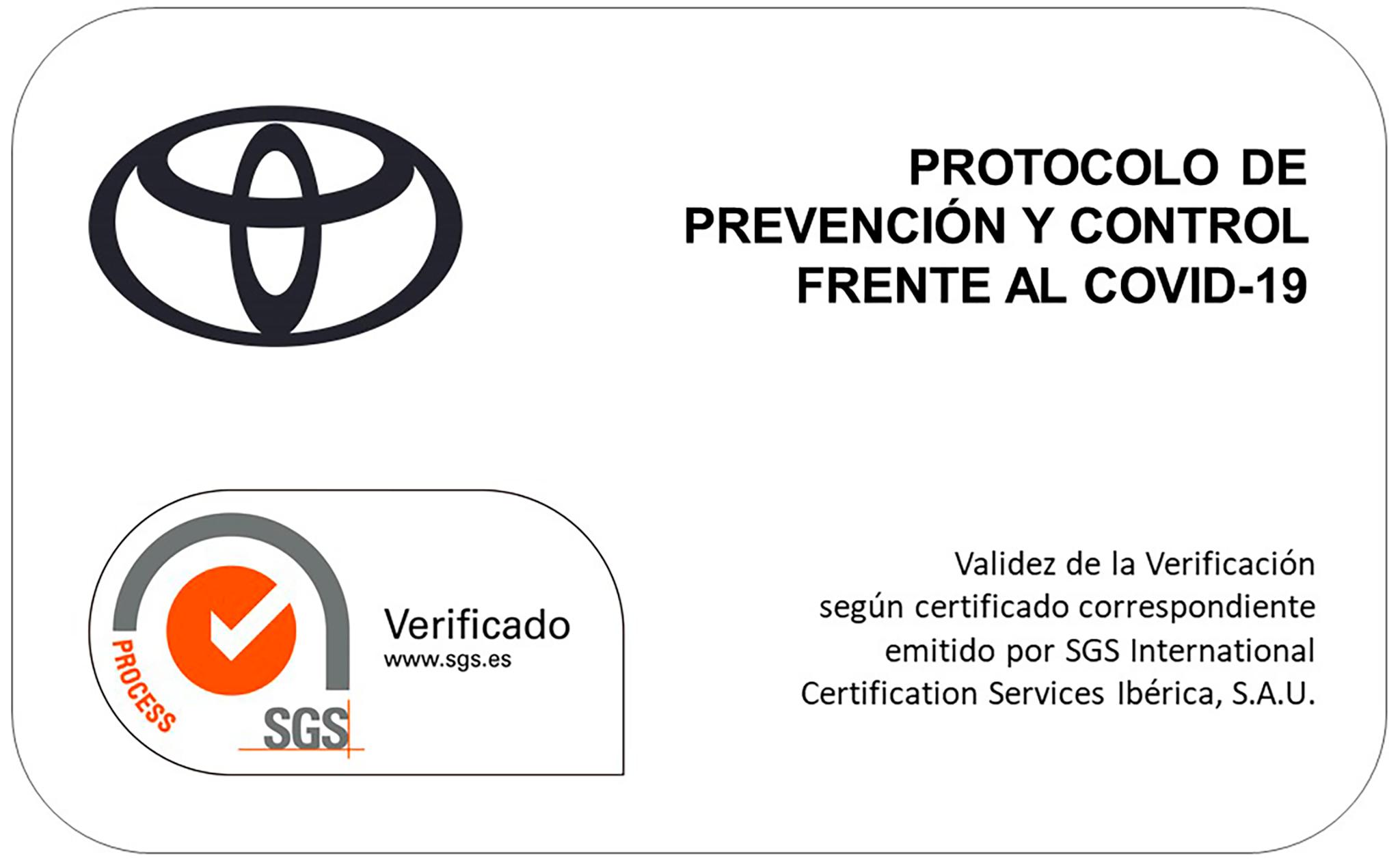 La Red Oficial de Concesionarios de Toyota España tiene el certificado cumplimiento de los protocolos de prevención y control de infecciones por coronavirus COVID -19